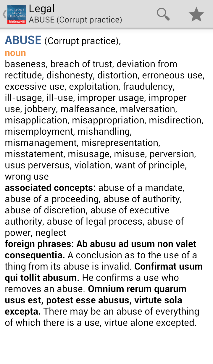 Burton's Legal Thesaurus 2013 Screenshot