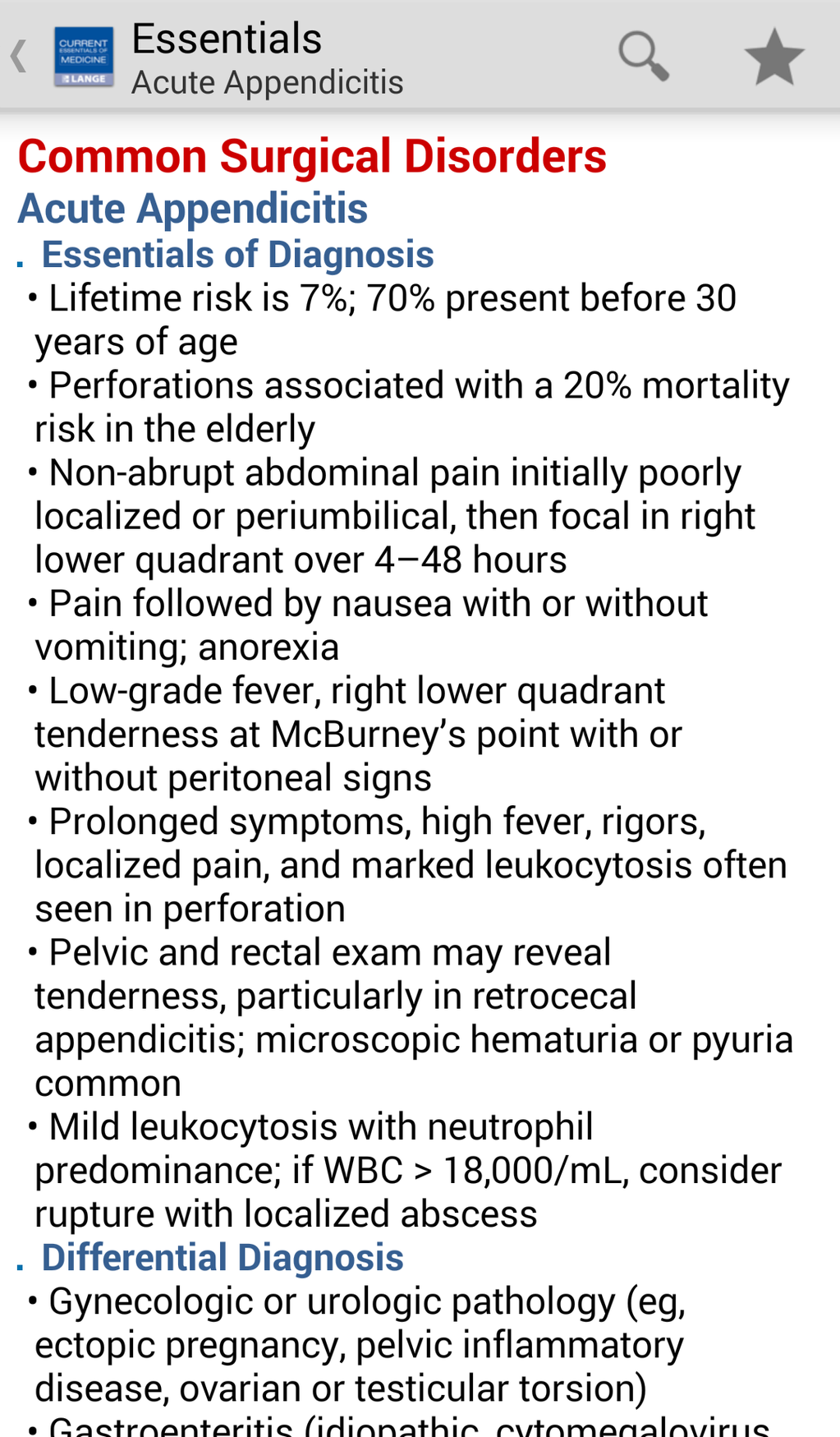 Current Essentials of Medicine Screenshot