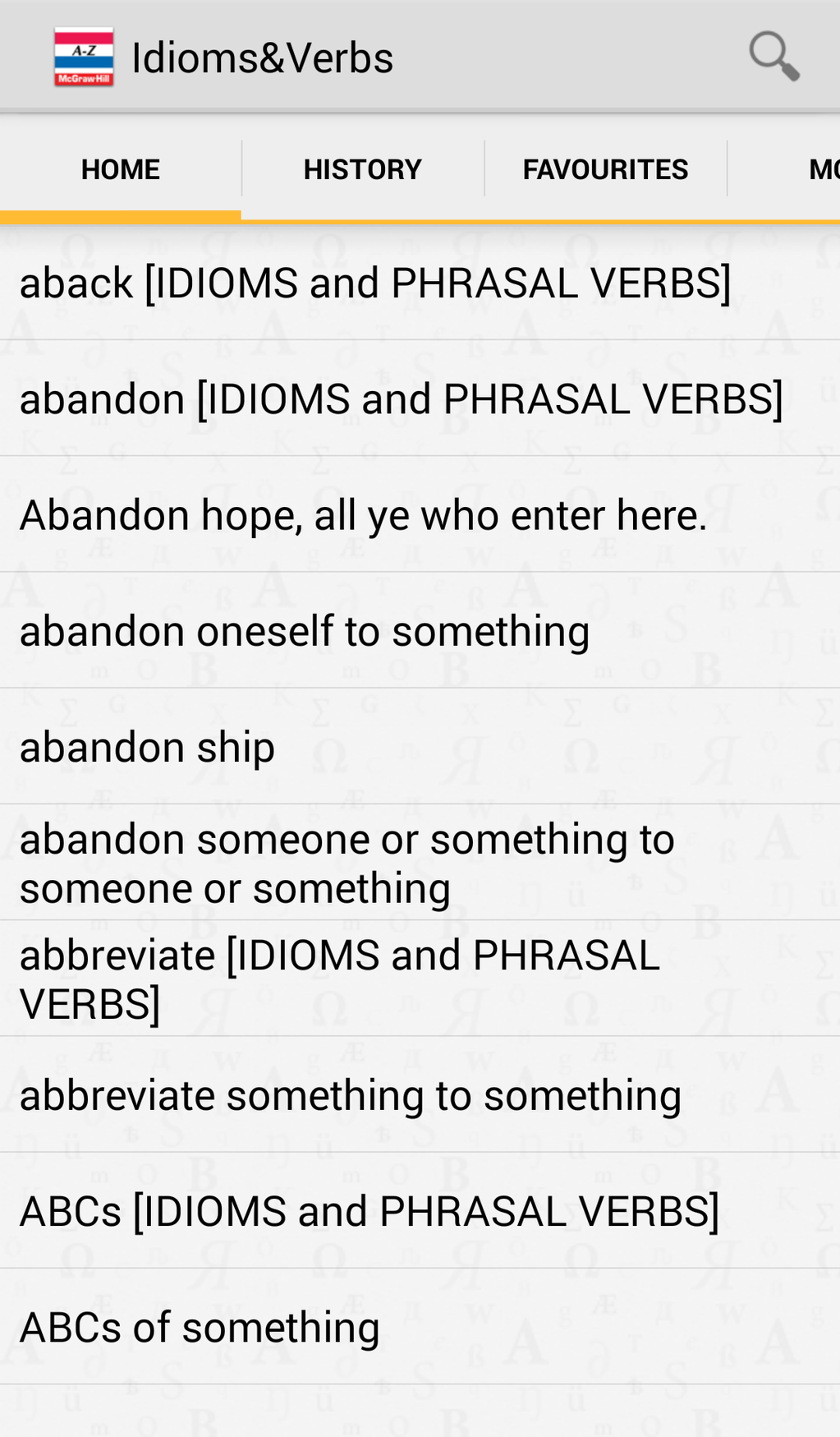 Dictionary of American Idioms and Phrasal Verbs Screenshot