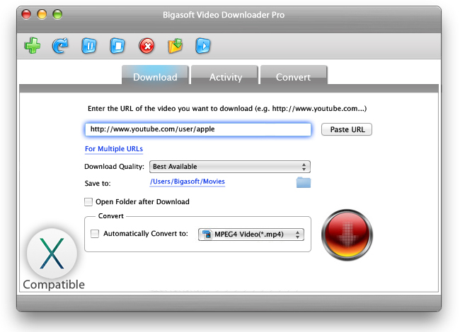 Bigasoft Video Downloader Pro for Mac Screenshot