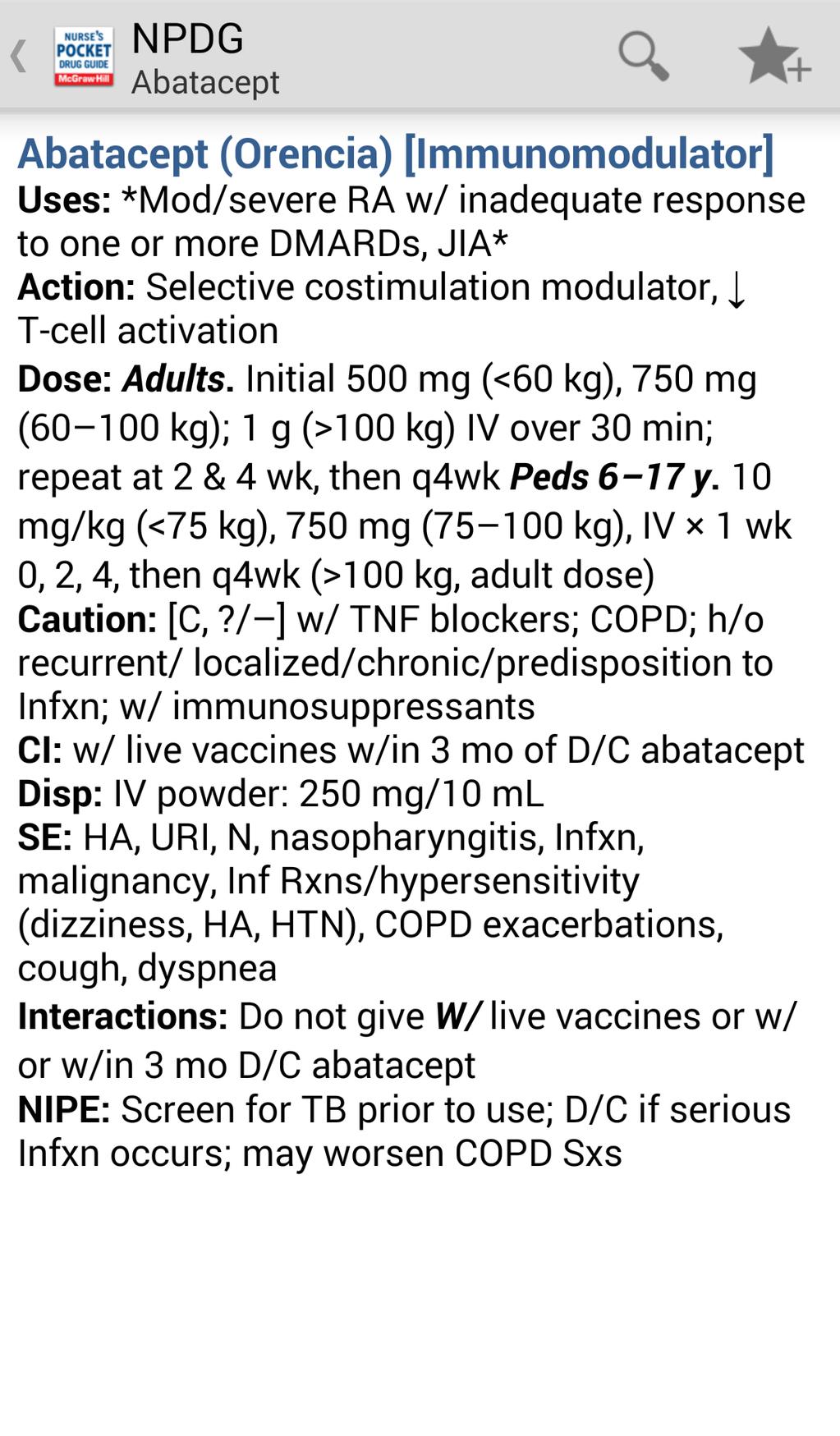 Nurse's Pocket Drug Guide 2012 Screenshot 4