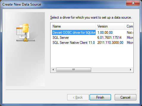 SQLite ODBC driver (32/64 bit) Screenshot 2