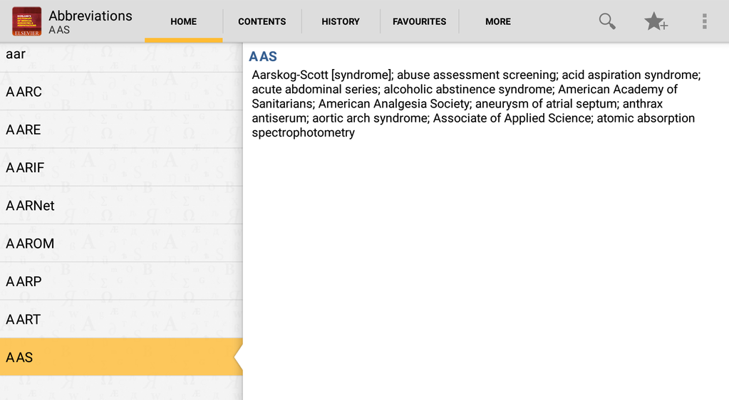 Dorlands Dictionary of Medical Acronyms and Abbriviations Screenshot 5