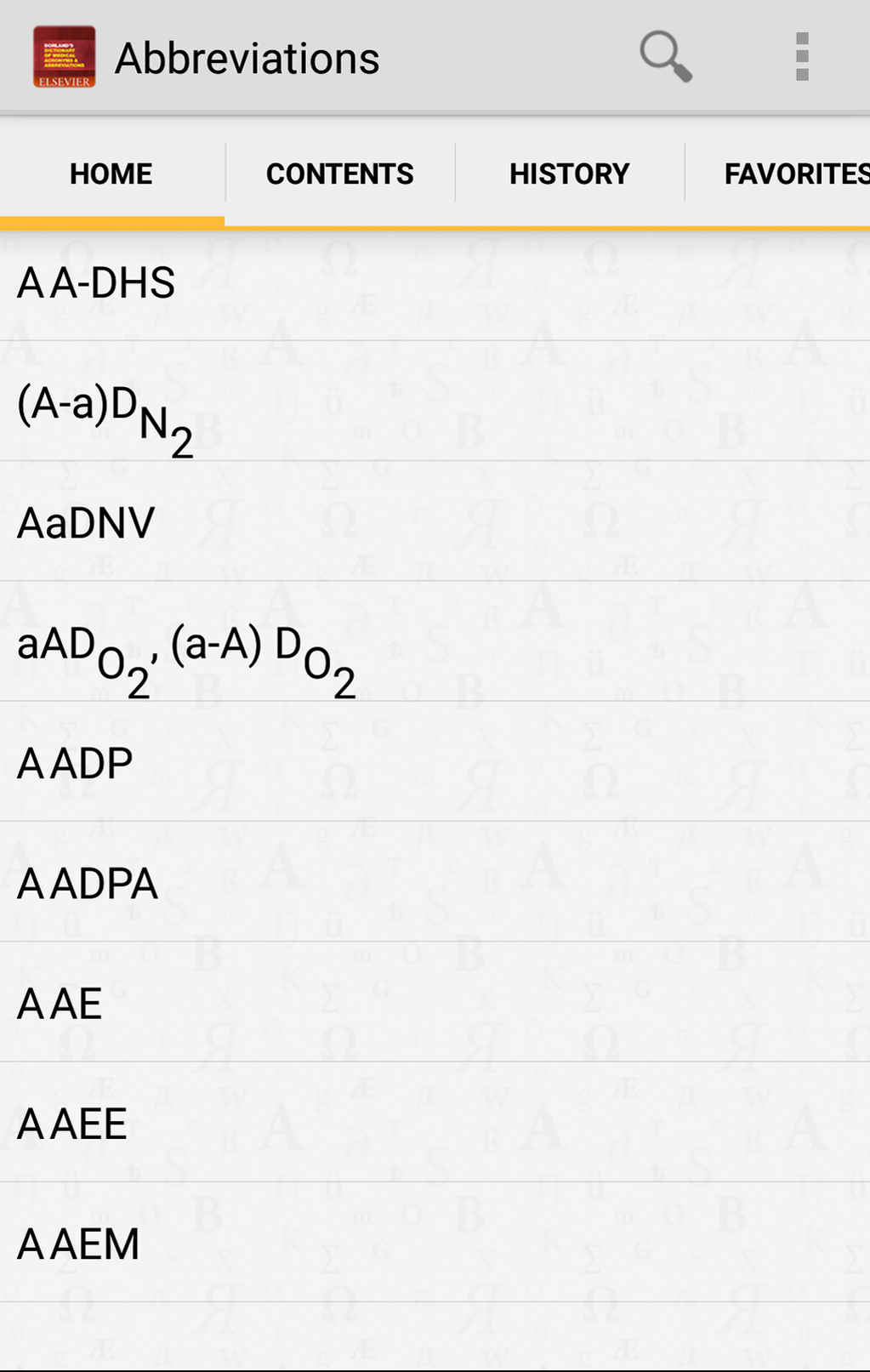 Medical Acronyms and Abbreviations Screenshot