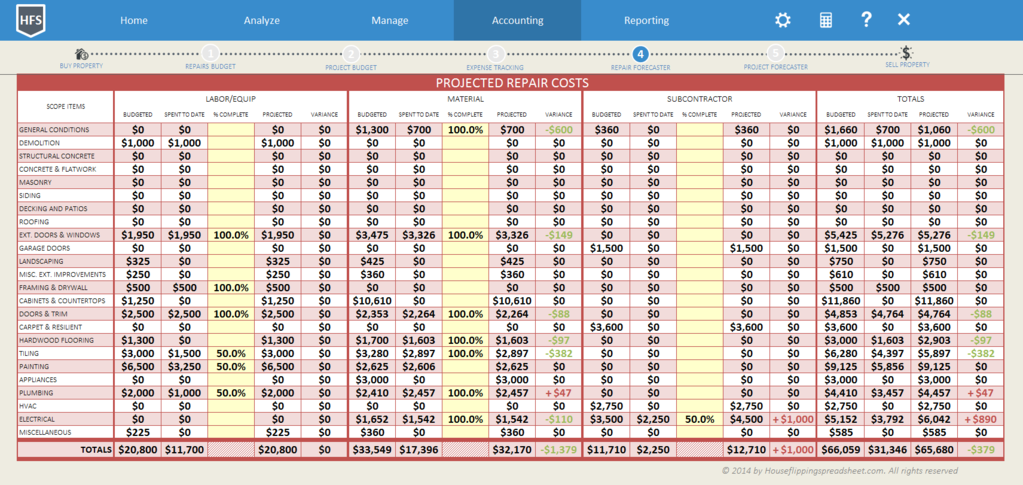 House Flipping Spreadsheet Screenshot 8