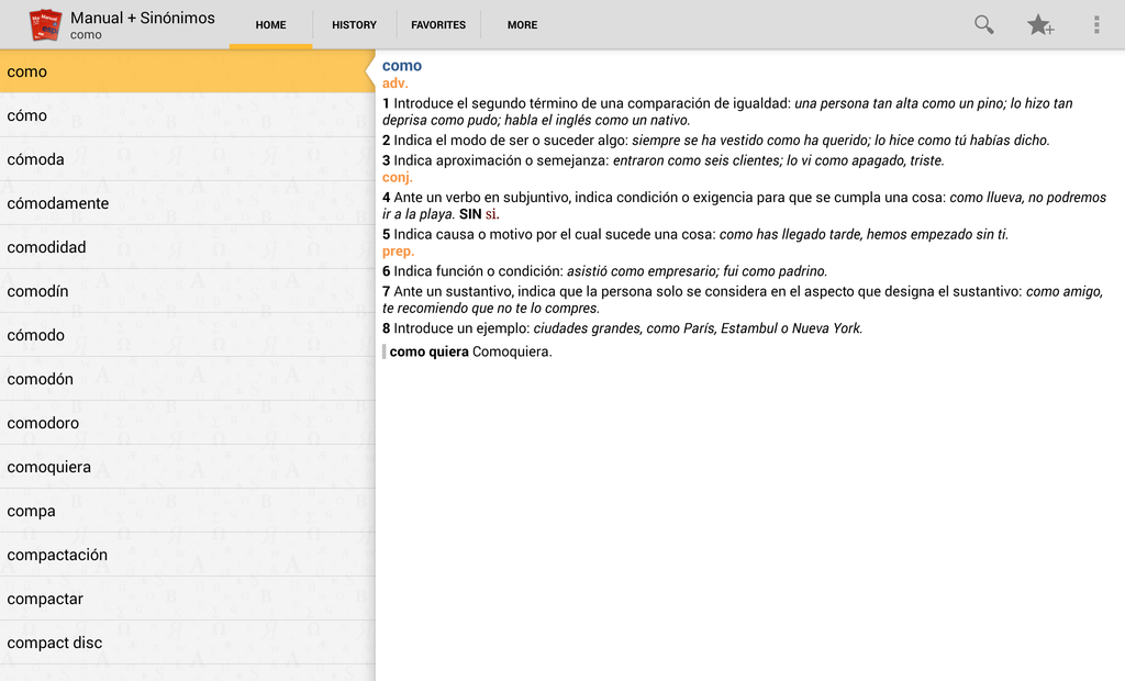 Vox Compact Spanish Dictionary and Thesaurus Screenshot 8