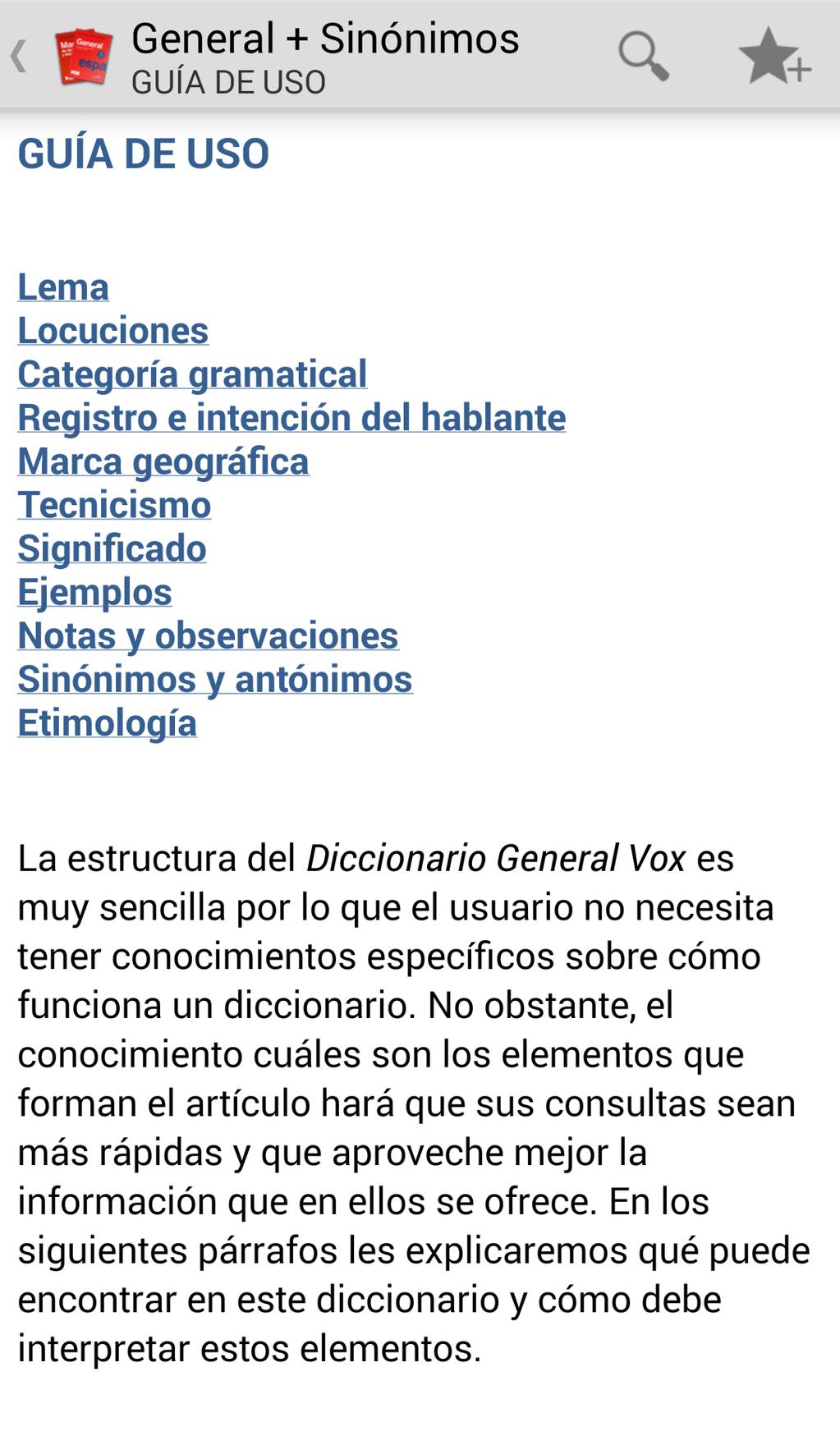 Vox General Spanish Dictionary and Thesaurus Screenshot 2