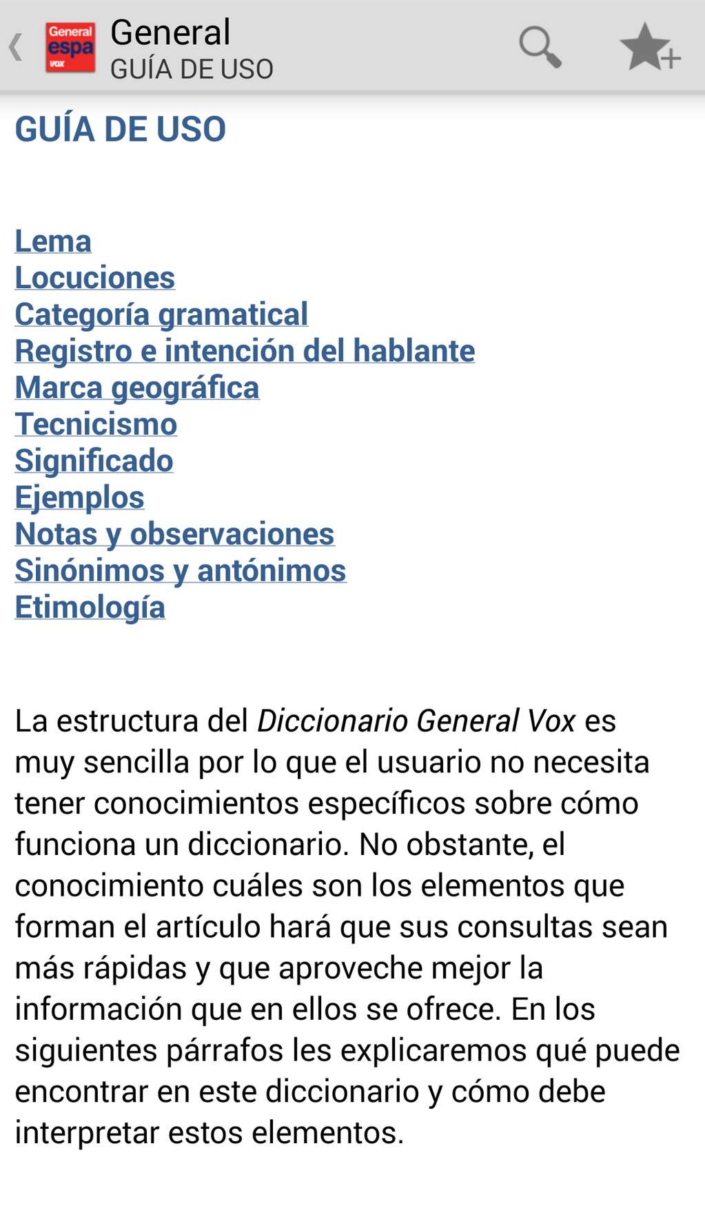 Vox General Spanish Language Dictionary Screenshot 2