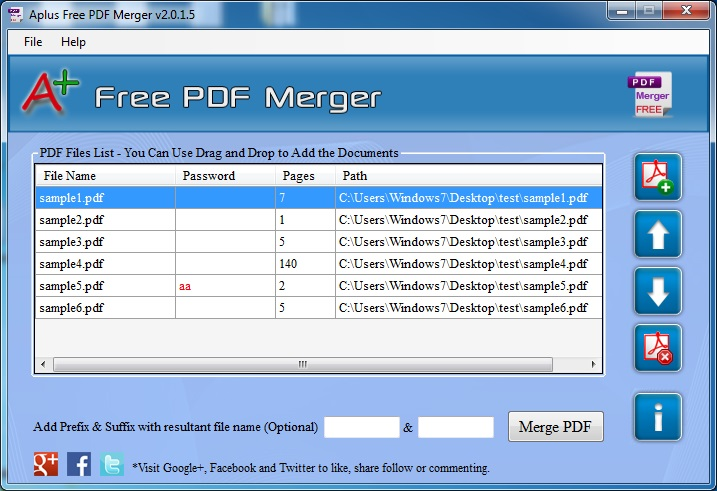 Aplus Free PDF Merger- Merge PDF Files Screenshot