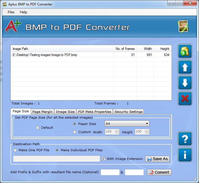 Aplus Convert BMP to PDF Screenshot