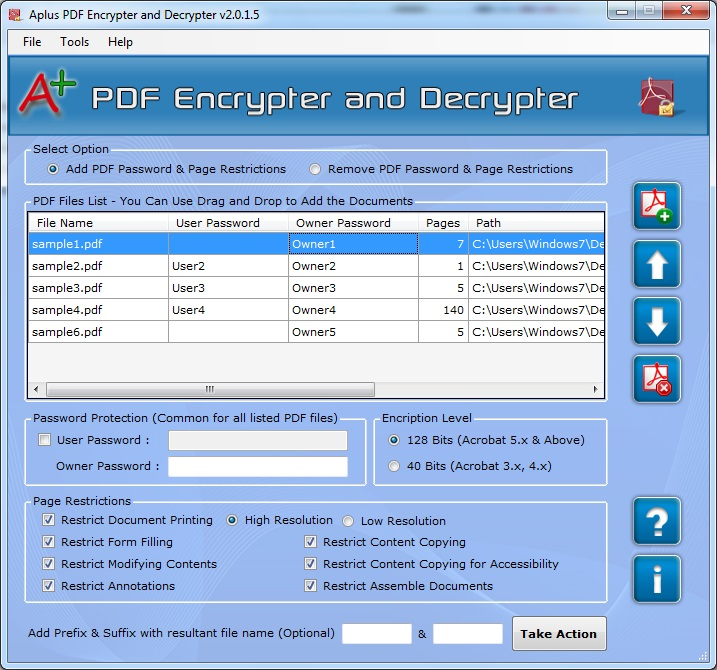 Aplus PDF Encrypt and Decrypt Screenshot
