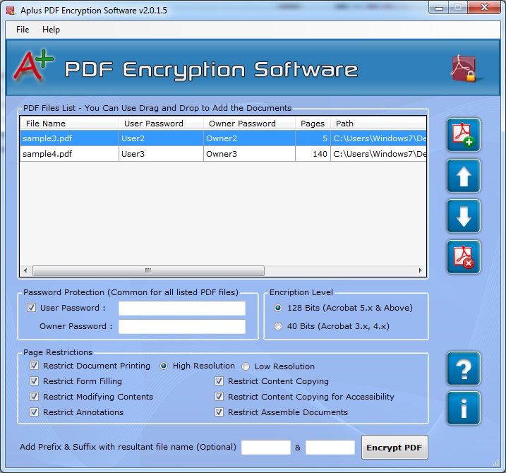 Aplus Protect PDF with Password Screenshot