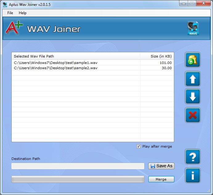 Aplus Merge WAV Files Screenshot