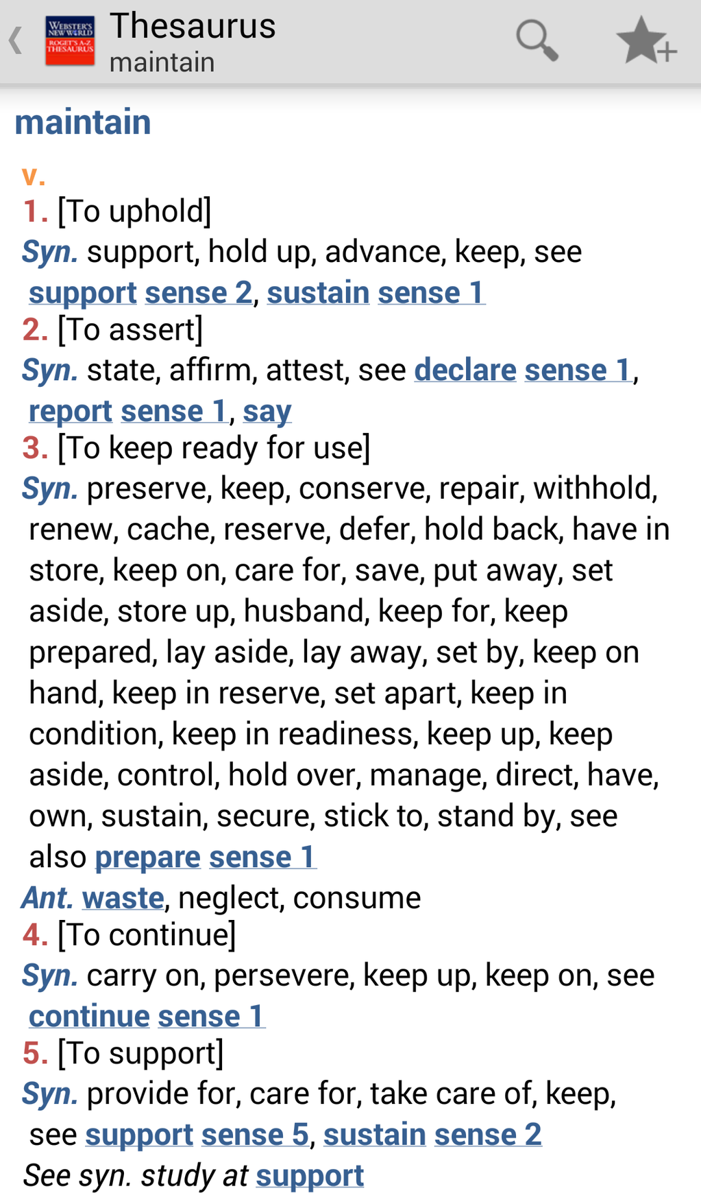 Webster's New World Roget's A-Z Thesaurus Screenshot
