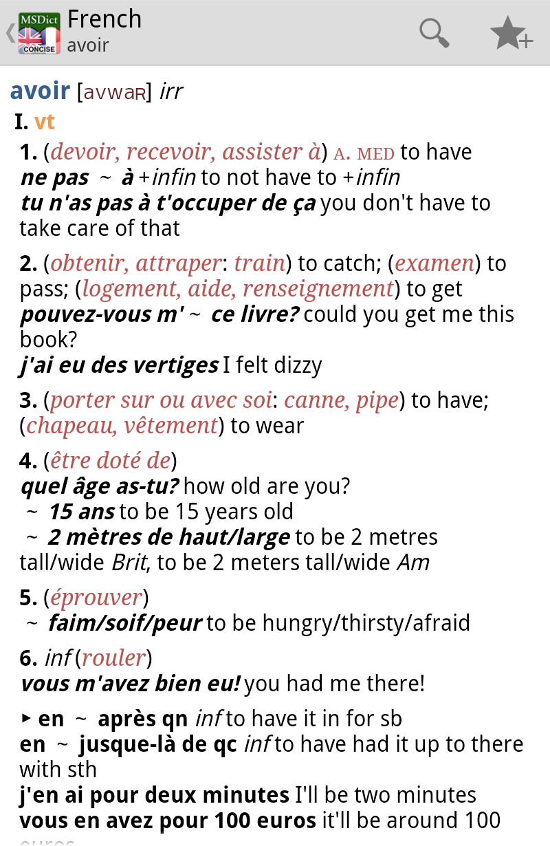 Dictionary English  French CONCISE Screenshot 2