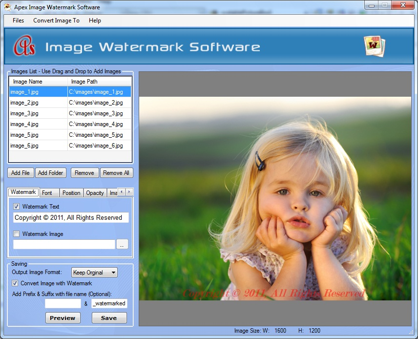 Apex Image Watermark Software Screenshot 1