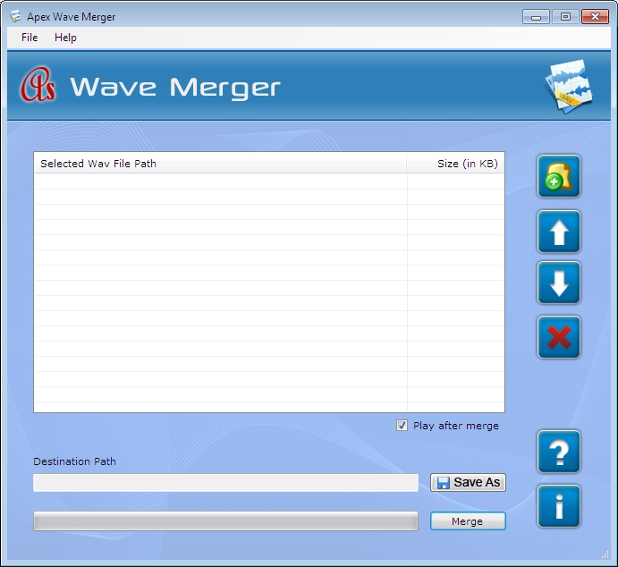 Apex WAV Merger Screenshot