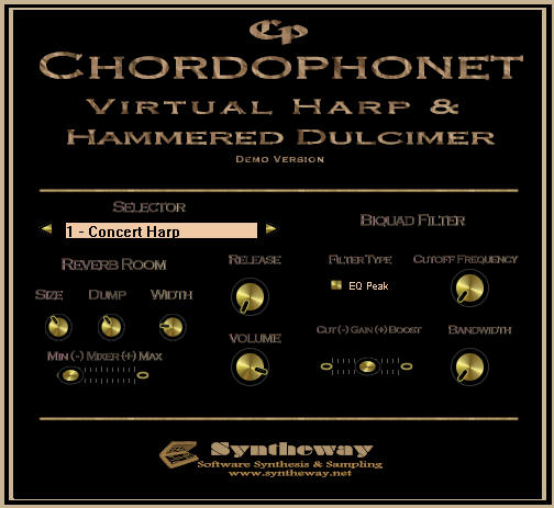 Chordophonet Virtual Harp & Dulcimer VST Screenshot