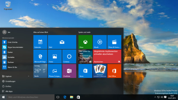 Microsoft Windows 10 Insider Preview Screenshot