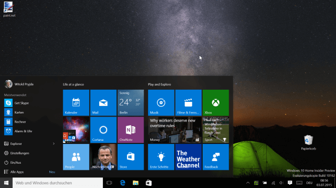Microsoft Windows 10 Insider Preview Screenshot 2