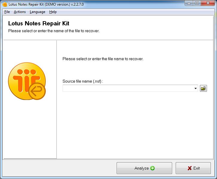 Lotus Notes Repair Kit Screenshot