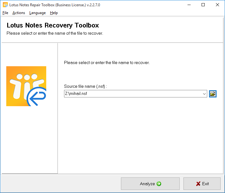 Lotus Notes Repair Toolbox Screenshot 1