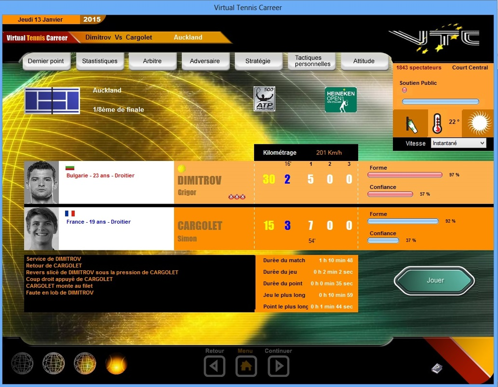 Virtual Tennis Carreer 2015 Screenshot 1