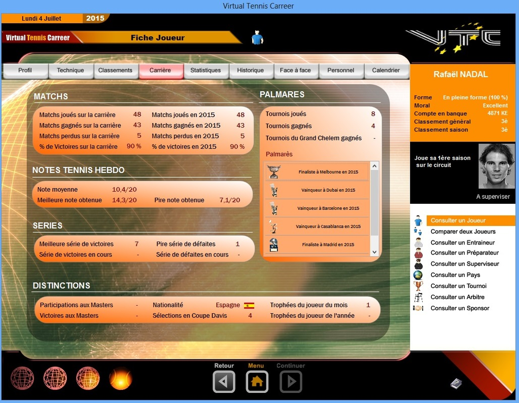 Virtual Tennis Carreer 2015 Screenshot 3
