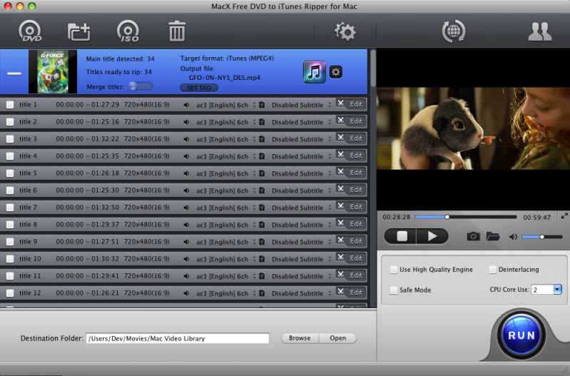 MacX Free DVD to iTunes Ripper for Mac Screenshot 1