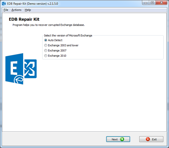 EDB Repair Kit Screenshot