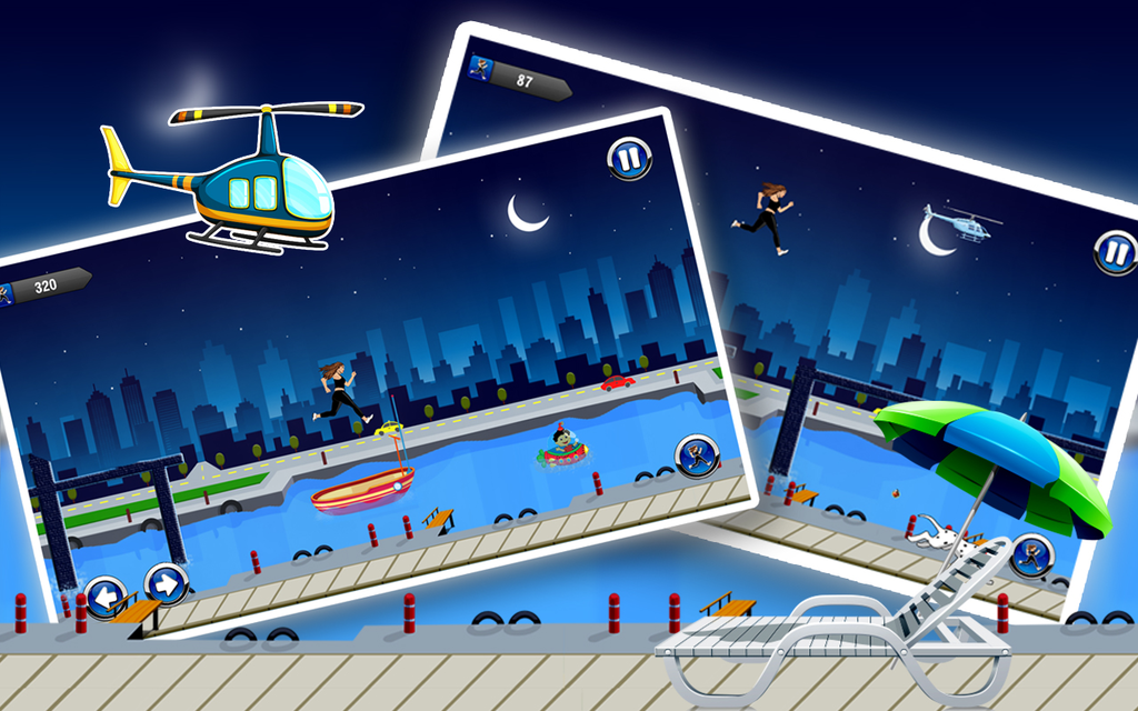 Amateur Lady Run : Moon Night Escape Challenge Screenshot 2