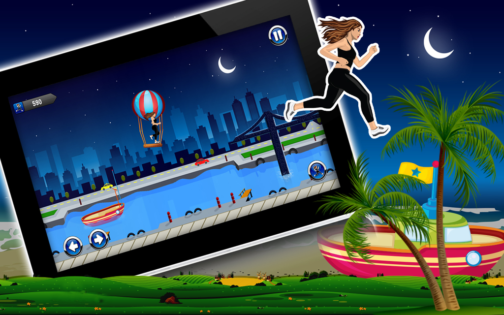 Amateur Lady Run : Moon Night Escape Challenge Screenshot 3