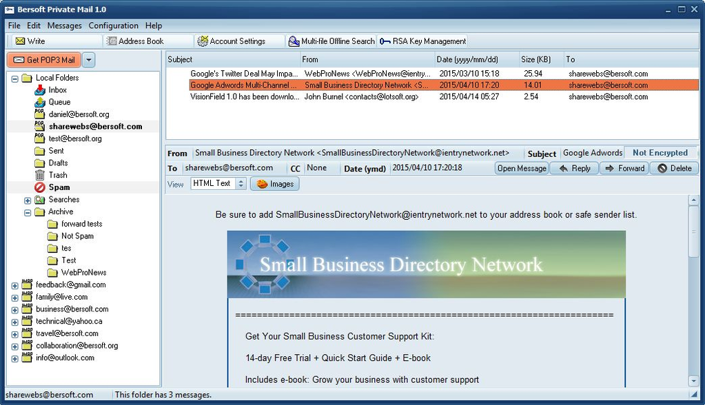 Bersoft Private Mail Screenshot