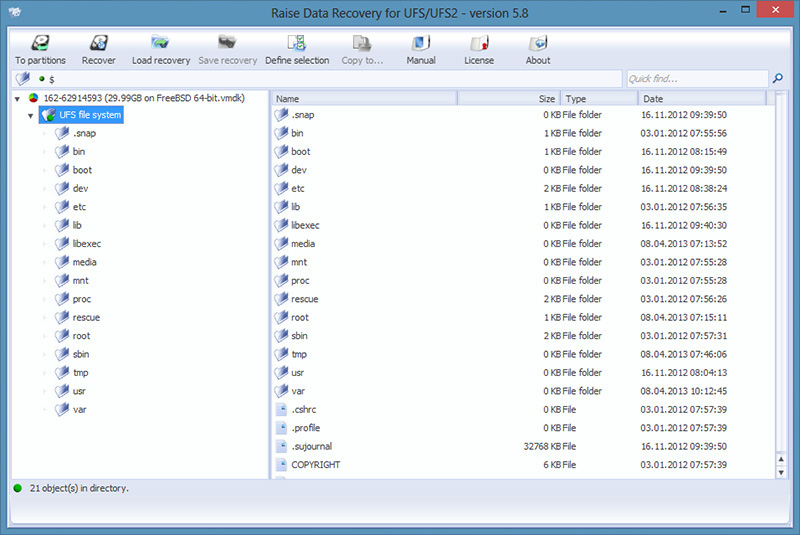 Raise Data Recovery for UFS/UFS2 Screenshot