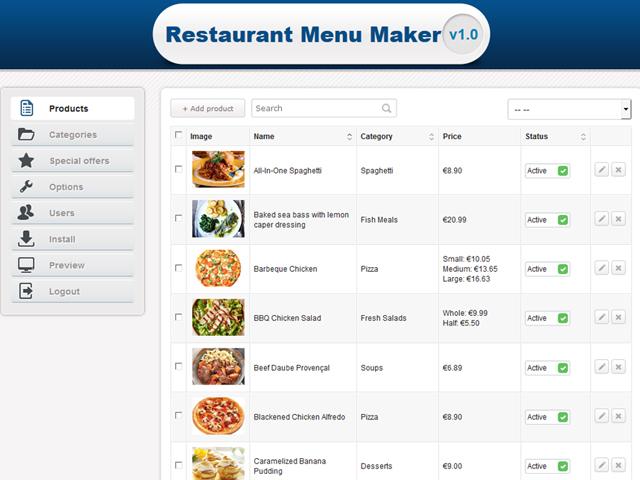 Restaurant Menu Maker by PHPJabbers Screenshot 5