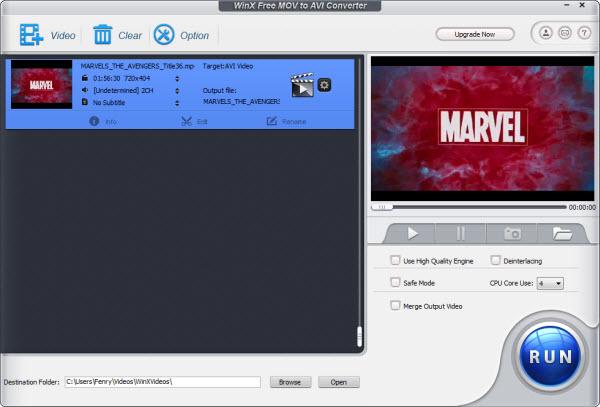 WinX Free MOV to AVI Converter Screenshot 1
