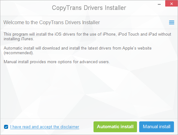 CopyTrans Drivers Installer Screenshot 1