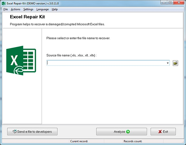 Excel Repair Kit Screenshot