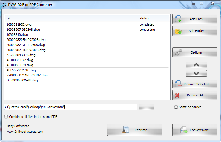 DWG DXF to PDF Converter Screenshot