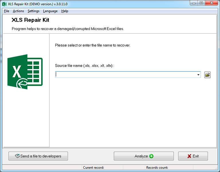 XLS Repair Kit Screenshot 1