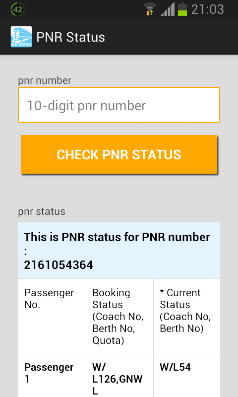PNR Status Screenshot 1