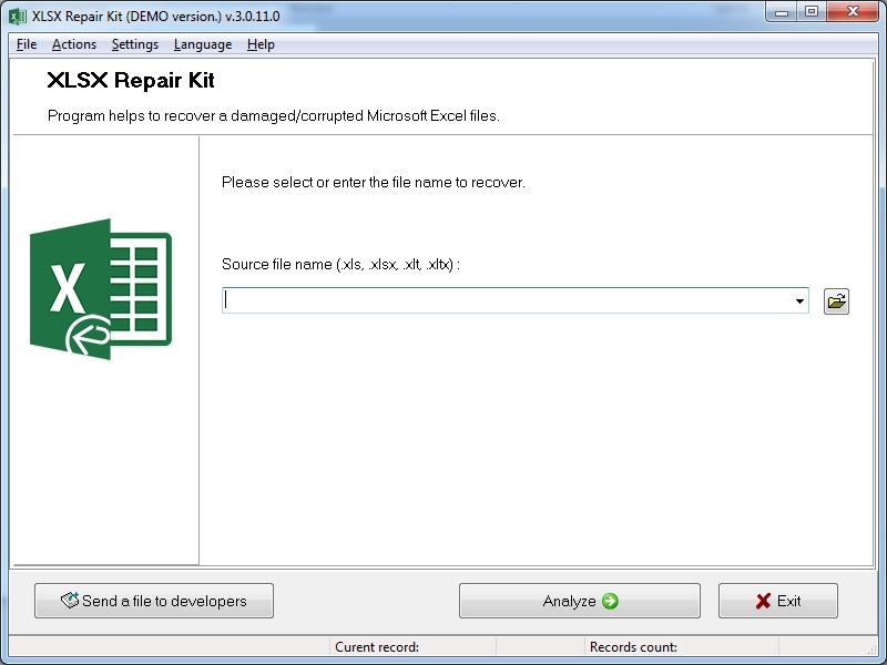 XLSX Repair Kit Screenshot