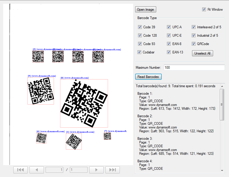 Dynamsoft Barcode Reader for Windows Screenshot