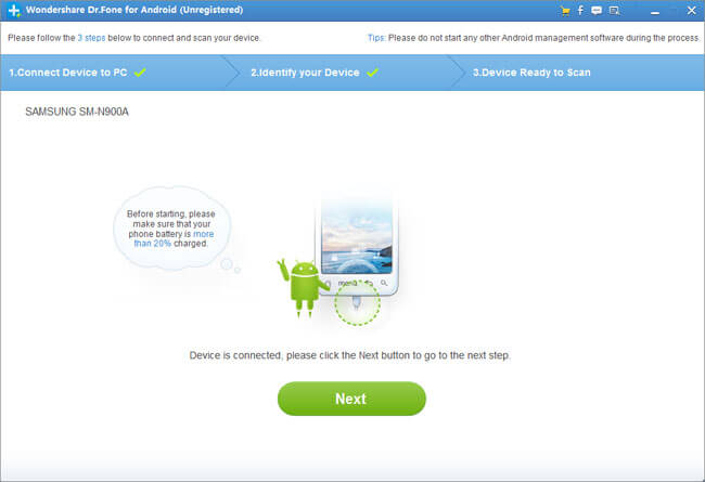Wondershare Dr.Fone for Android (Mac Version) Screenshot