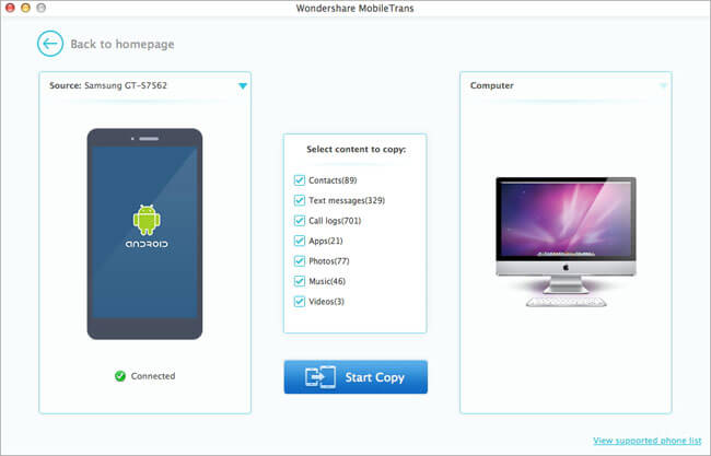 Wondershare MobileTrans for Mac Screenshot