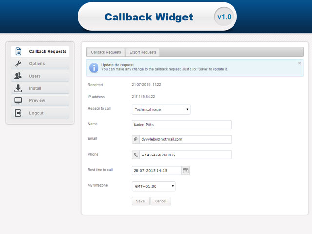 Callback Widget by PHPJabbers Screenshot 3