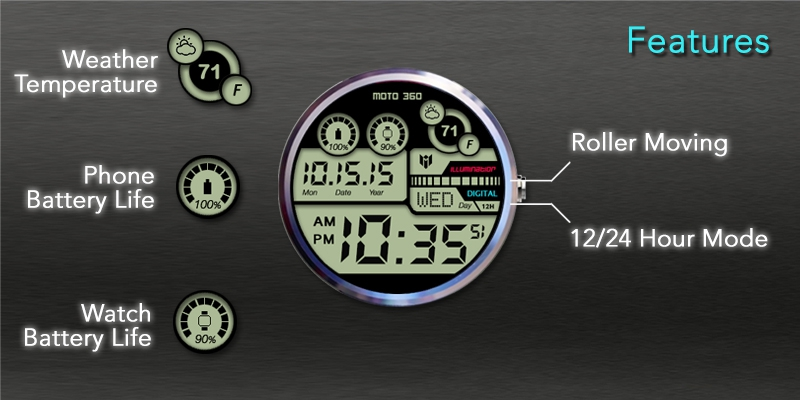 Hybrid 360 Digital Watch Face Screenshot 2