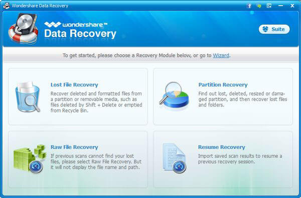 Wondershare Data Recovery (Windows Version) Screenshot