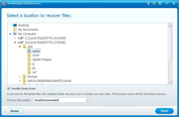 Wondershare Data Recovery (Windows Version) Screenshot 2