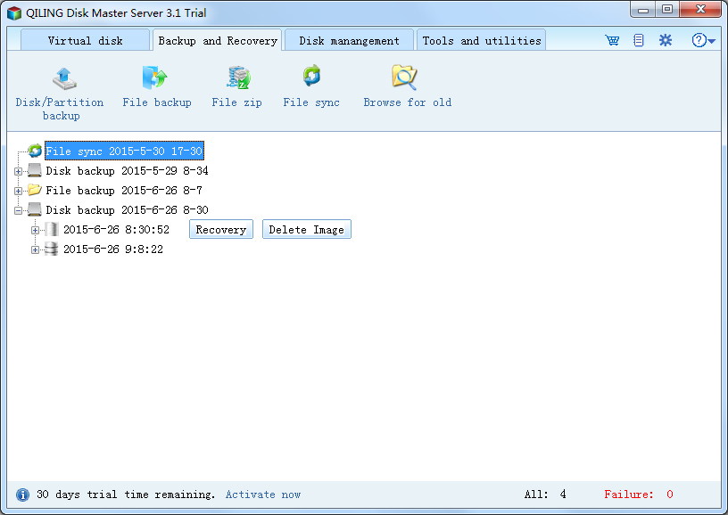 QILING Disk Master Server Screenshot